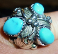 3 gem navajo ladies ring