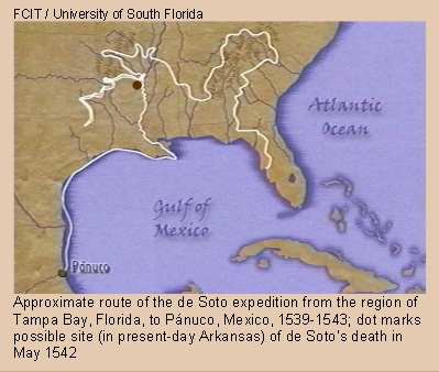 Map of De Soto's great expedition into the interior of southern North America, 1539-1543.