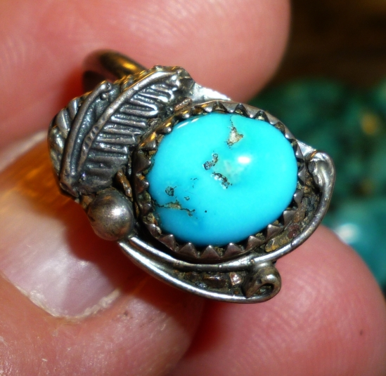 An example of a very pure all natural gem nugget of Sleeping Beauty turquoise, mined in North America. This little Navajo ring dates tot he 1960s.