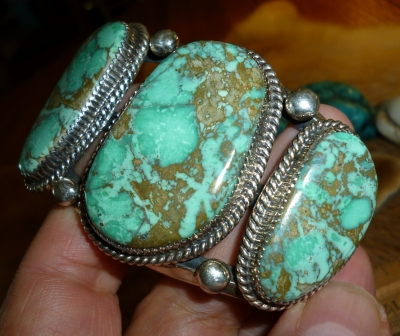 Rare Navajo Cuff with Green Turquoise from Nevada